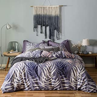 SUSYBAO 3 Pieces Duvet Cover Set 100% Natural Cotton King Size Purple White Tropical Palm Tree Leaves Bedding with Zipper Ties 1 Duvet Cover 2 Pillowcases Luxury Quality Soft Durable Comfortable