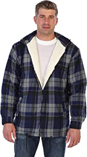 Gioberti Mens Sherpa Lined Flannel Jacket with Removable Hood