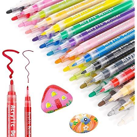 RATEL Peinture Acryliques Stylos, 35 Pcs Marqueur Peinture Acrylique Premium Permanent Feutre Acrylique Stylo Peinture Acrylique, Pour la Projets d'Artisanat de Bricolage, Céramique, Verre