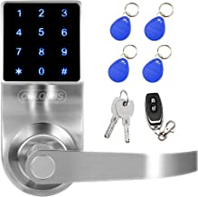 COLOSUS NDL319 Keyless Electronic Digital Smart Door Lock for Home & Office Security, Touchscreen – 50 User Codes + 4 Key Fobs + 1 Remote + 2 Keys (Silver) …