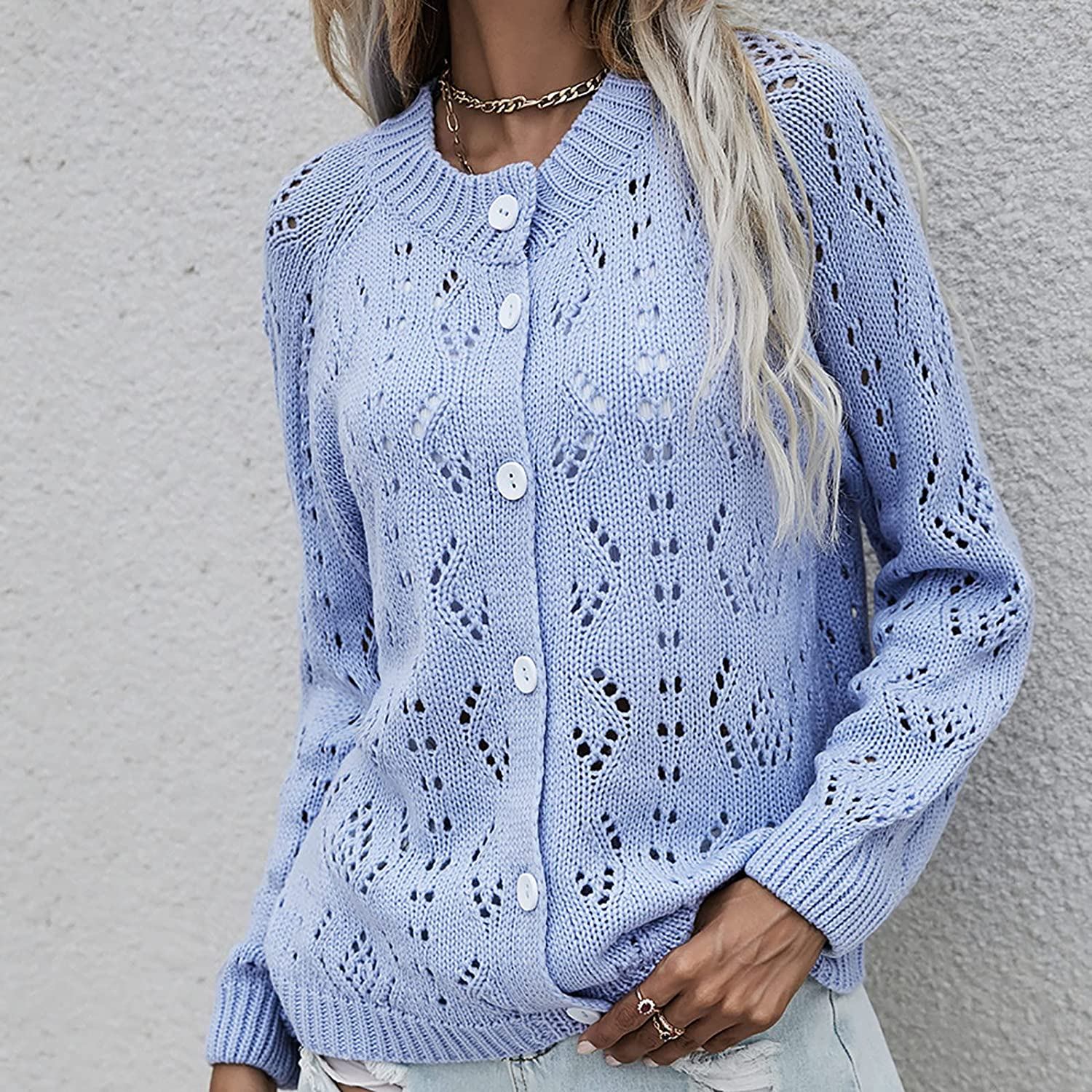 GBSELL Women's Cardigan Sweater, Long Sleeve Button Down Oversized Chunky Open Front Cable Knit Button Closure with Pockets (S, Light Blue)
