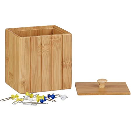 Relaxdays 10022232 Boîte de Rangement Bambou Couvercle Boîte en Bois Rangement Cuisine Bijoux Hxlxp: 11, 5 x 10 x 8 cm, Bambou, Nature, 8 x 10 x 11.5 cm
