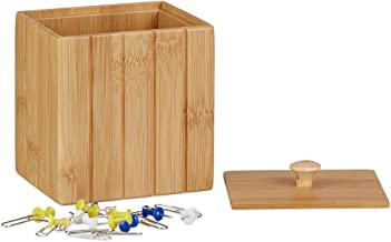 Relaxdays Storage Box with Lid, Small Wooden Organizer, Bamboo Stock Crate Container, HWD: 11.5 x 10 x 8 cm, Natural