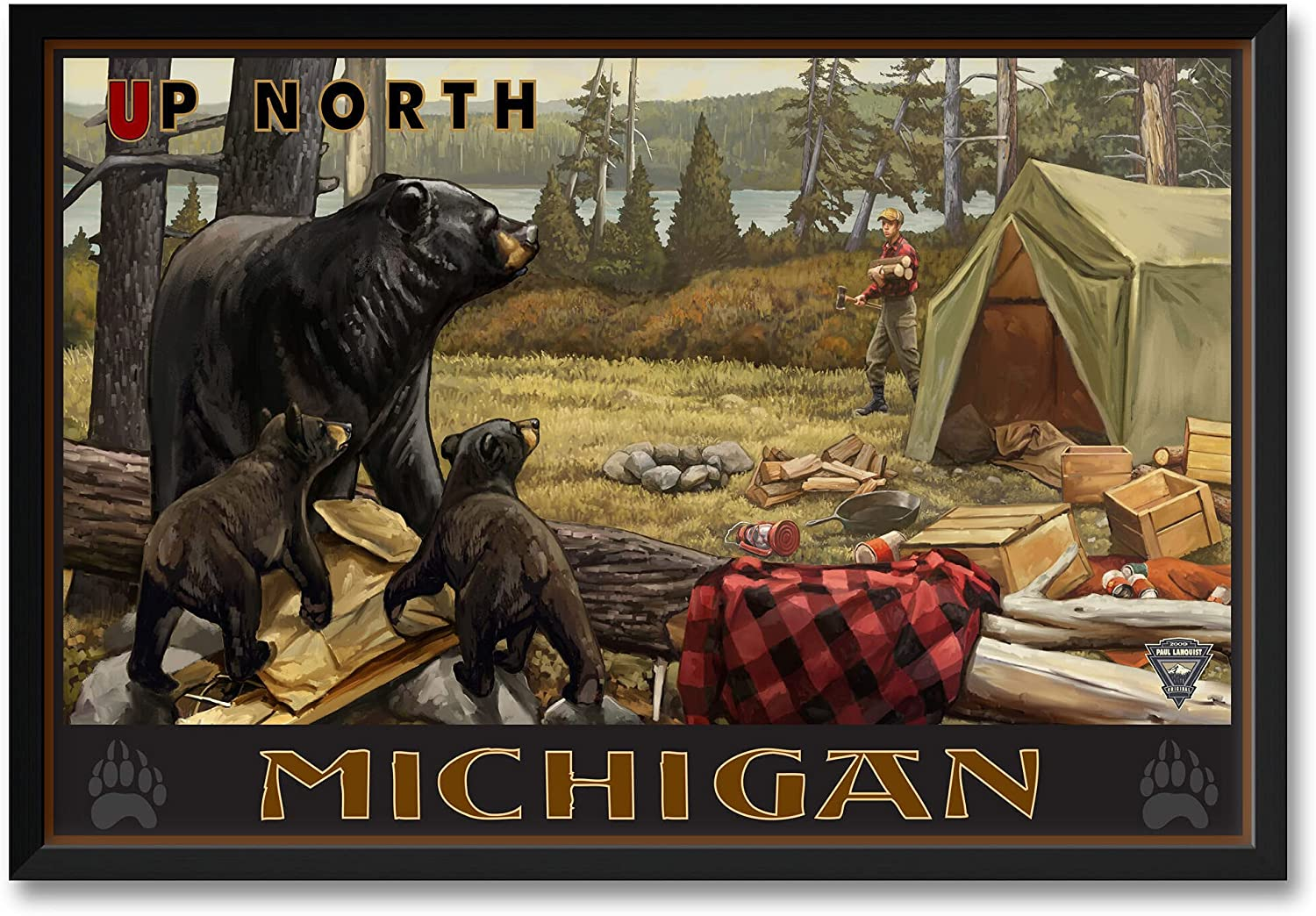 Up North Michigan Lake Camper Framed Pr Professionally Bears Art Discount is also underway Popular