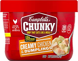 Campbell's Chunky Creamy Chicken & Dumplings Soup Microwavable Bowl, 15.25 oz. (Pack of 8)