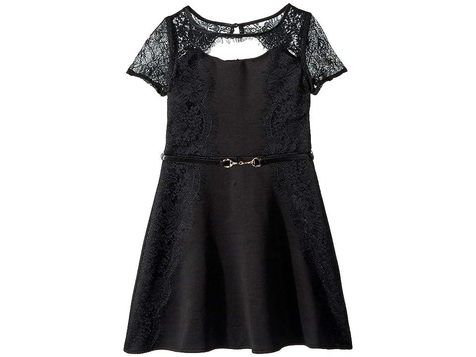 Us Angels Scuba Crepe Dress (Big Kids) (Black) Girl