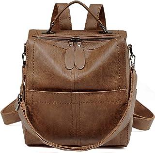 VASCHY Rucksack Damen, Elegant Kunstleder Quadratischer Kleiner Mini Rucksack Casual Daypack Handtasche Schultertasche für Frauen Hochschule MädchenBraun