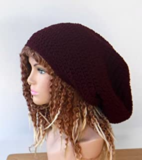 bc7b8098 Handmade dark burgundy long dread tam, tam beanie, sock slouchy beanie,  dreadlock sock
