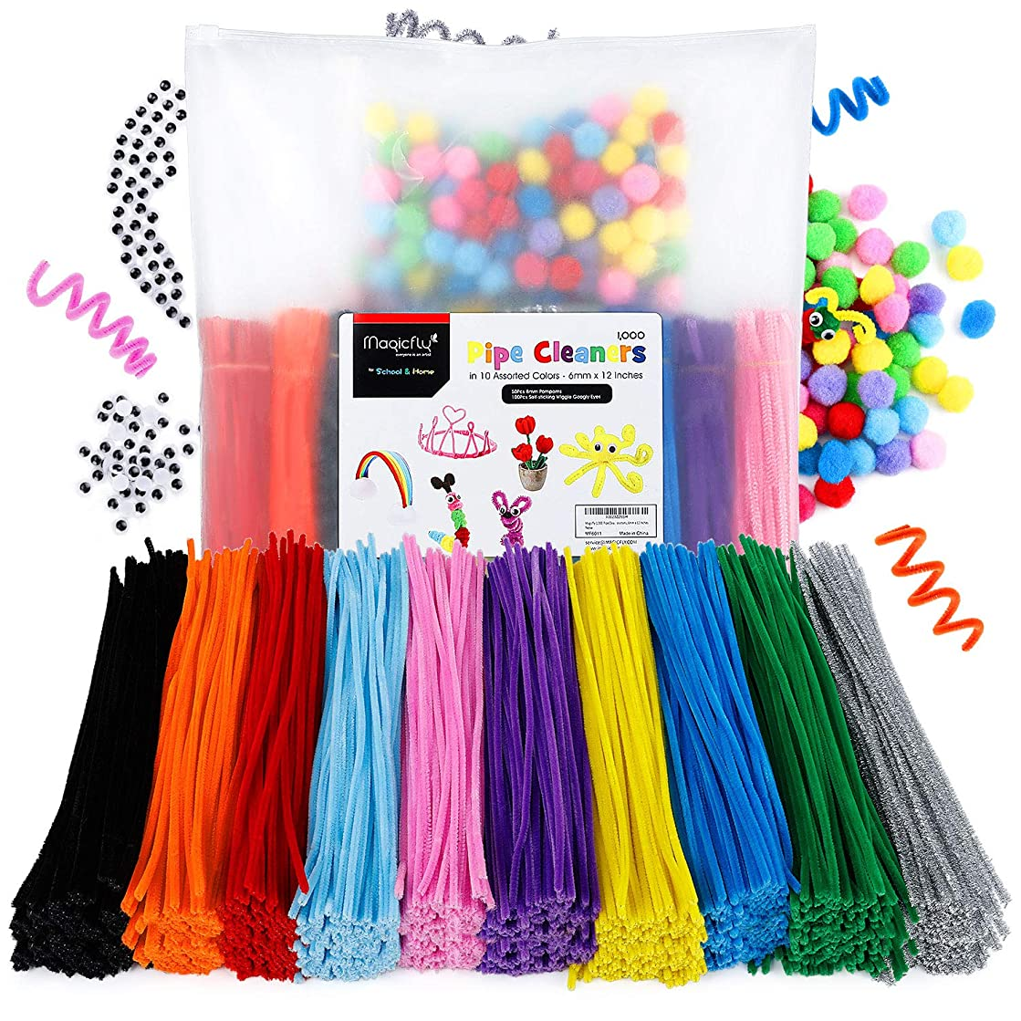 Magicfly 1000 Pcs Pipe Cleaners with 100 Pieces Pompom Balls 25mm and 50 Pcs Wiggle Googly Eyes, Chenille Stems in 10 Assorted Colors, 6mm x12 inch for DIY Arts & Craft Projects