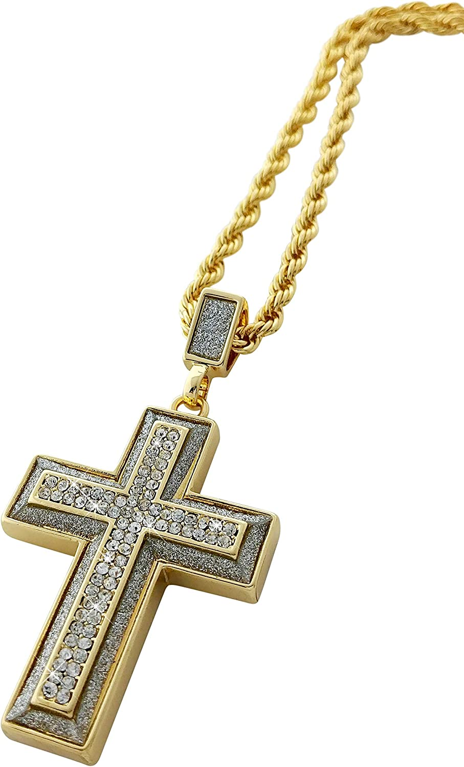 Exo Jewel Iced Out Gold Diamond Cross Pendant Necklace with 24
