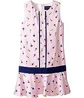 Oscar de la Renta Childrenswear Mini Daisy Toss Cotton Drop Waist Dress (Toddler/Little Kids/Big Kids)
