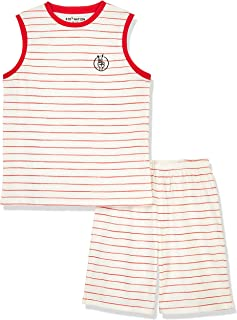 Kid Nation Unisex Kids Cotton Tagless Sleepwear Sets Crew Neck Casual Tank and Shorts for Boys and Girls 4-12 Years
