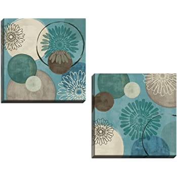 Amazon Com Gango Home Decor Lovely Teal And Brown Abstract Circle Patterned Set By Daphne Brissonnet Two 12x12in Hand Stretched Canvases Posters Prints