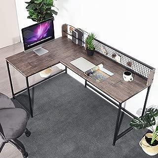 GreenForest L Shaped Corner Desk, Industrial Style Large Desktop Computer Gaming Desk for Home Office, Walnut
