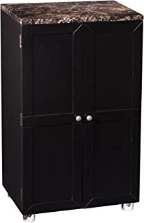Cape Town Contemporary Bar Cabinet - Marble Countertop w/Black Finish - Space Saving Design