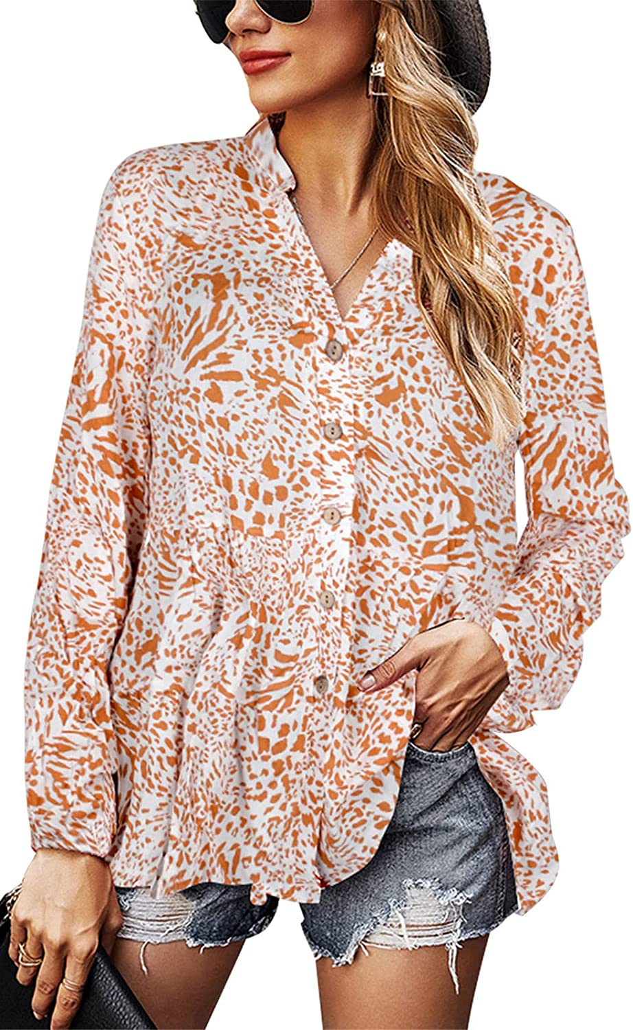 ALLTB Womens Casual Tunic Tops Floral Print Button Down Shirt Flowy V-Neck Long Sleeve Loose Blouses