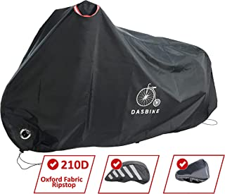 DasBike Bike Cover Waterproof Outdoor Storage Bicycle. Heavy Duty 210D Ripstop. Protection UV Rain Snow and Dust. Up to 2 Bikes in XL Size. Double Stitching Sealed Seams Helmet and Saddle Covers.