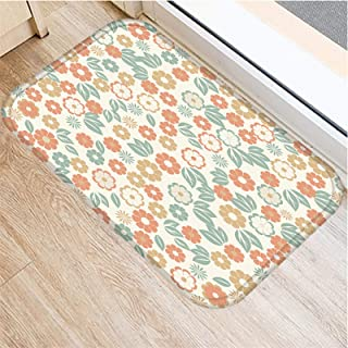 JZYZSNLB Doormat 1pcs 4060cm Stripe Flower Dots Pattern Anti-Slip Suede Carpet Door Mat Doormat Outdoor Kitchen Living Roo...