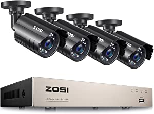 ZOSI H.265+ Home Security Camera System Outdoor Indoor, 8 Channel 5MP-Lite CCTV DVR Recorder and 4pcs Weatherproof Surveillance Bullet Camera,Night Vision,Remote Access,Motion Alerts (No HDD)