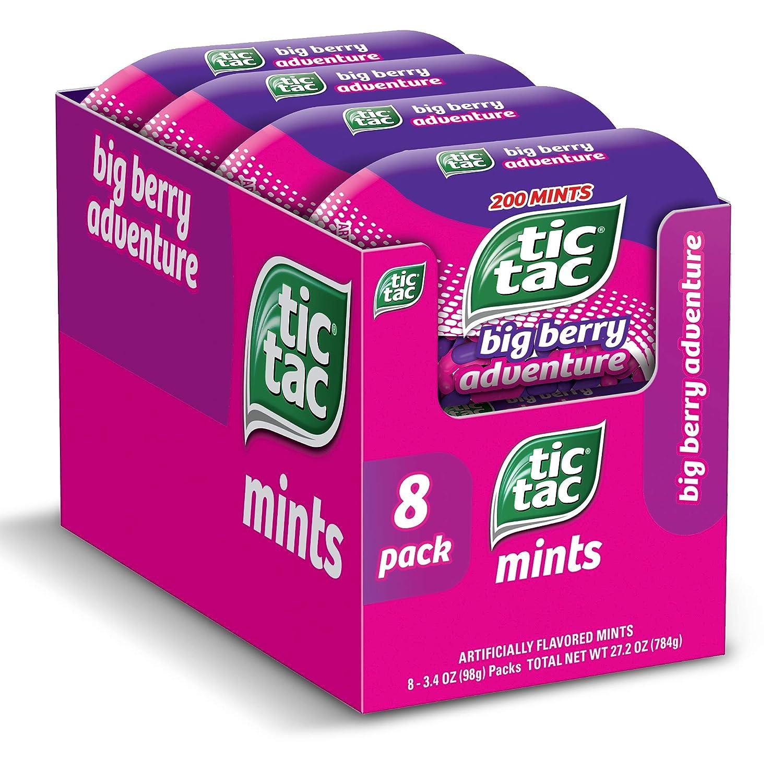 Tic Tac Fresh Breath Mints, Big Berry Adventure, Bulk Hard Candy Mints, 3.4 Oz Bottle Pack, 8Count