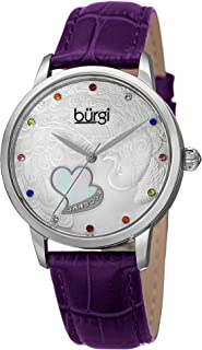 Burgi Swarovski Crystal Accented Women's Watch - On Peacock and Mother-of-Pearl Heart Dial On Embossed Leather Strap - BUR149