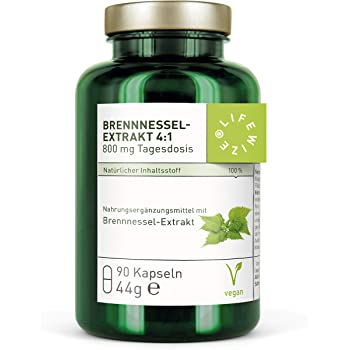 LifeWize® Brennnessel Kapseln - Echter Brennnessel Extrakt 4:1-800 mg hochdosiert - aus Deutschland - Vegan und ohne Zusatzstoffe
