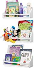 Nursery Décor Wall Shelves – 3 Set Shelf - Crown Molding Floating Bookshelves for Baby and Kids Room Book Organizer Storage Ledge, Display Holder for Toys, CDs, Baby Monitor, Frames