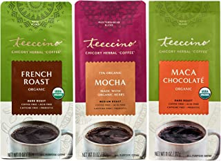 Teeccino Herbal Coffee Variety Pack – Mocha, French Roast, Maca Chocolaté – Ground Herbal Coffee That's Prebiotic, Caffein...