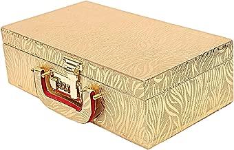 Kuber Industries Wooden Two Rod Bangle Storage Box (Gold) -CTKTC8692