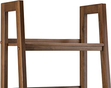 SIMPLIHOME Sawhorse SOLID WOOD 72 inch x 24 inch Modern Industrial Ladder Shelf with Storage in Medium Saddle Brown with 2 Dr