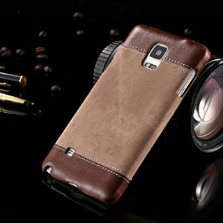 Protective Case Compatible with Samsung Business Style Demin Patchwork Design PC+PU Leather Protective Hard Back Case Cover Compatible Samsung Galaxy Note 4 Phone case (Color : Brown)