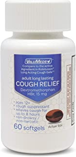 ValuMeds Adult Cough Relief for Adults Dextromethorphan HBr 15mg (60 Softgels) 8-Hour, Non-Drowsy, Long-Las...