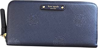 Kate Spade New York Haven Lane Glitter Neda zip Around Continental Wallet Navy