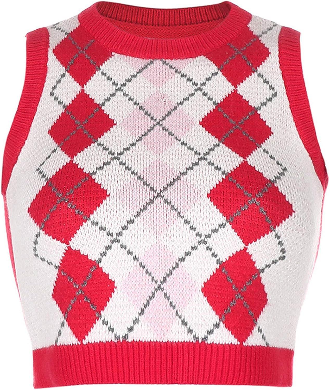 Women's Streetwear Vest V Neck Plaid Sweater Knitted Vests Preppy Style V Neck Crop Knitwear Tank Top for Girl (Red 2,Medium)