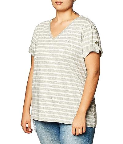 Nautica Easy Comfort V-neck Striped Supersoft Stretch Cotton T-shirt