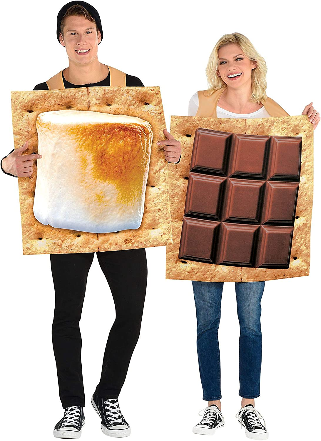 Party City S'Mores Snack Couple Halloween Costume, Adults Standard Size, Chocolate and Marshmallow Graham Cracker Tunics