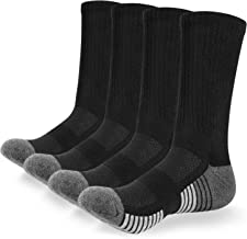 Anqier Men's Performance Cushion Crew Socks Cotton Athletic Moisture Wicking Socks Running Hiking Sports Socks