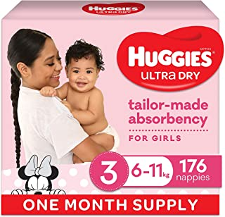 Huggies Ultra Dry Nappies, Girls, Size 3 Crawler (6-11kg), 176 Count, One-Month Supply, (Packaging May Vary)