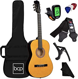 Best Best Choice Products 38in Beginner All Wood Acoustic Guitar Starter Kit w/Case, Strap, Digital Tuner, Pick, Strings - Natural Reviews