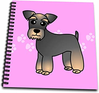 3dRose db_40890_1 Miniature Schnauzer Banded Brown Base Coat (Salt and Pepper) Cartoon Dog Pink with Pawprints Drawing Book, 8 by 8-Inch