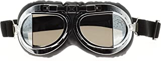 Hot Rides Classic Vintage Aviator Pilot Motorcycle Goggles Protective Glasses (Silver Frame/Plating Lens)