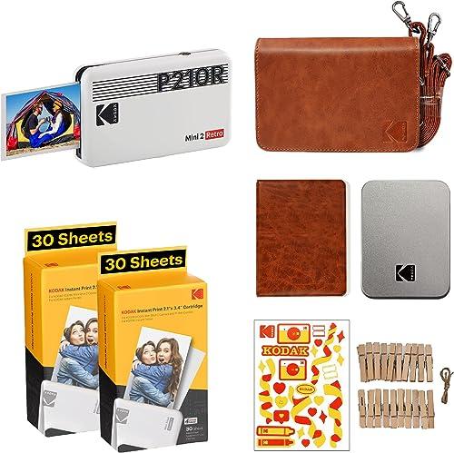 "Kodak Mini 2 Retro 2.1x3.4"" Portable Photo Printer Accessory Gift Bundle, Wireless Connection, Compatible with iOS, A..."