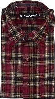 PROLIAN Men's Broad-Checkered Woolen Cotswool Long Sleeve Shirt CTWL14