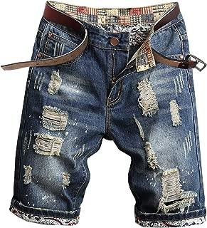 Welity Men's Casual Ripped Denim Shorts (No Belt)