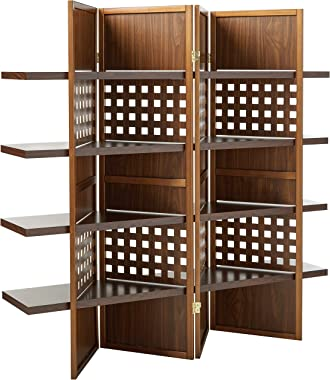 ORE International 4-Panel Walnut Finish Room Divider with Book Shelves