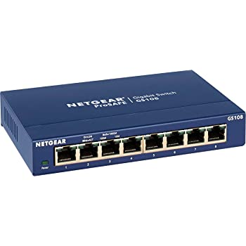 NETGEAR 8-Port Gigabit Ethernet Unmanaged Switch (GS108) - Desktop, and ProSAFE Limited Lifetime Protection