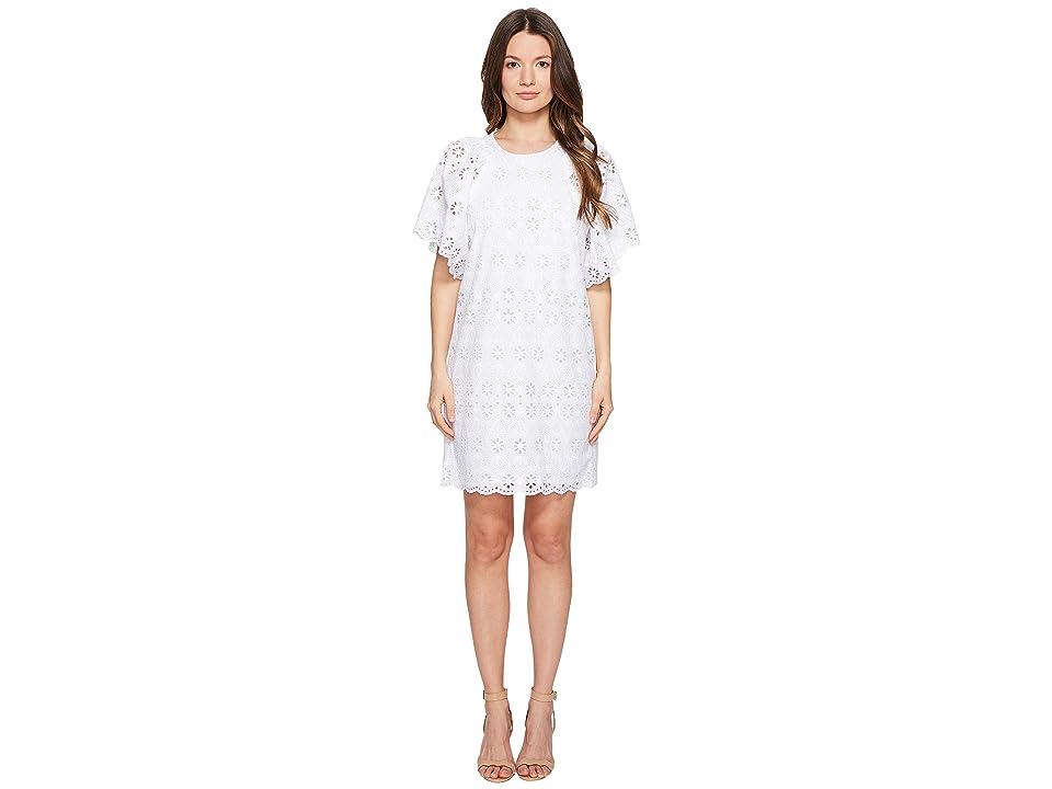 Kate Spade New York Spice Things Up Eyelet Shift Dress (Fresh White) Women