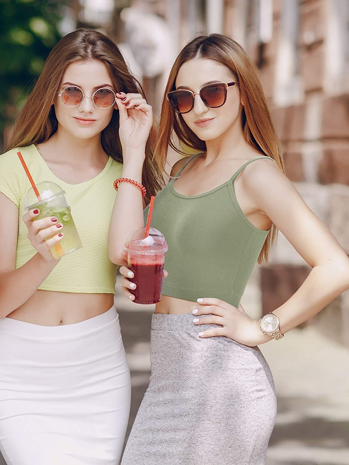 6 Pieces Women Crop Cami Top Spaghetti Strap Tank Top Racerback Sleeveless Camisole Tops for Sports Yoga