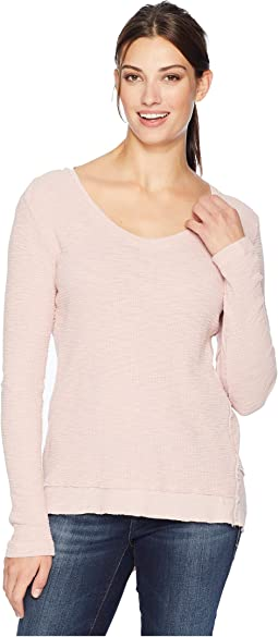 Softest Slub Waffle Thermal Long Sleeve V-Neck with Asymmetrical Rib Hem