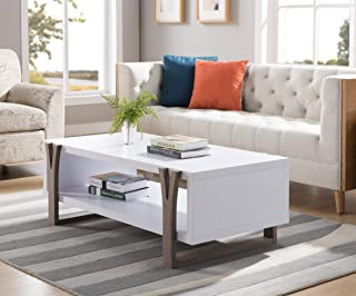 171961CT Mid Century Modern Coffee Table (White & Dark Taupe Color) Coffee Tables for Living Room